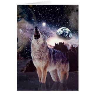 Wolf im Mond heulend an der Erde Karte