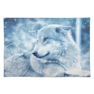 Wolf im Schnee Stofftischset