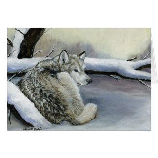 Wolf in der Schnee-Kunst-Anmerkungskarte Karte