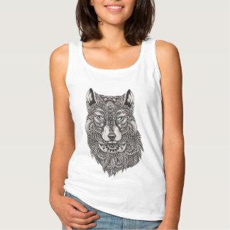 Wolf mit grüne Augen-ausführlicher Illustration Tanktop