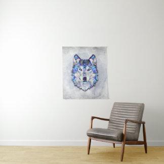 Wolf-Porträt - geometrisches Muster Wandteppich