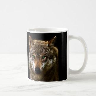 Wolf-Profil mit grüne Augen ~ editable Hintergrund Tasse