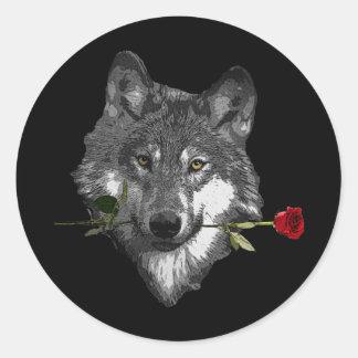 Wolf-Rose Runder Aufkleber