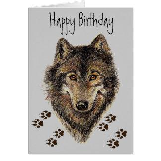 Wolf spürt Tiergeburtstags-Karte auf Karte
