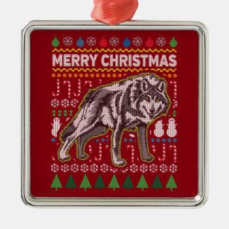 Wolf-Tier-frohe Weihnacht-hässliche Quadratisches Silberfarbenes Ornament