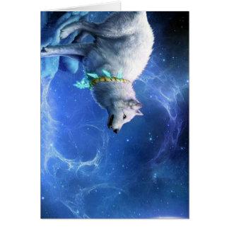 Wolf-und Mond-malendes   Blau Karte