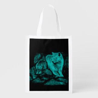 Wolf und Rabe in der Nacht Wiederverwendbare Einkaufstasche