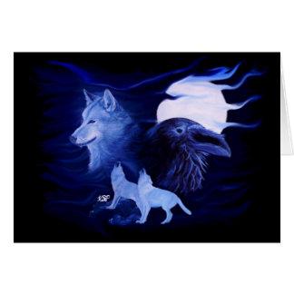 Wolf und Rabe mit Vollmond Karte