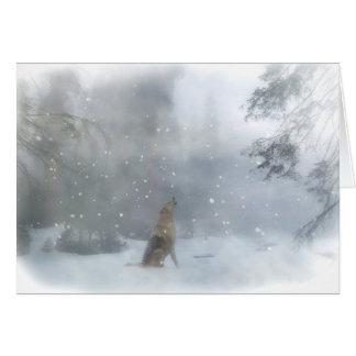 Wolf-und Schnee-lustige glückliche Feiertags-Karte Karte