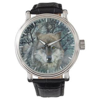 Wolf-Vollmond im Nebel Armbanduhr