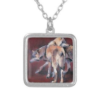 Wolf-Zusammensetzung 2001 Halskette Mit Quadratischem Anhänger
