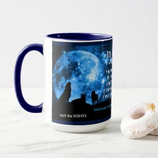 Wölfe heulen am Vollmond, mit Mayaunterricht Tasse