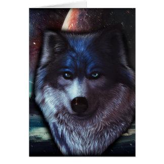 Wolfgesicht im Raum, blaue Wolfmalerei Karte