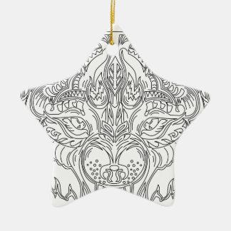 Wolfkopf Keramik Ornament