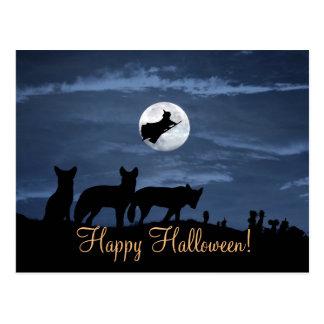 Wolfsrudel-glückliche Halloween-Hexe-Postkarte Postkarte