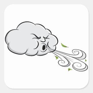 Wolken-durchbrennenwind-windiger Tag Quadratischer Aufkleber
