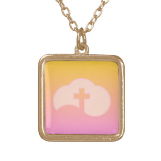 Wolken-Kreuz (Pfirsich) Vergoldete Kette