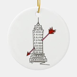 Wolkenkratzer-Amor-Verzierung New- Rundes Keramik Ornament
