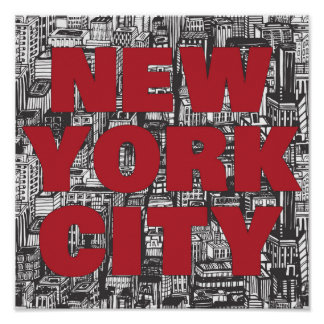 Wolkenkratzer-Typografie New York City | Poster