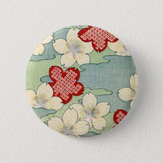 Woodblock Druck der Hartriegel-Blüten Runder Button 5,1 Cm