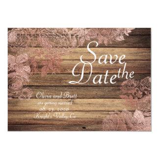Woodsy rustikale Rosen-Spitze, die Save the Date 11,4 X 15,9 Cm Einladungskarte
