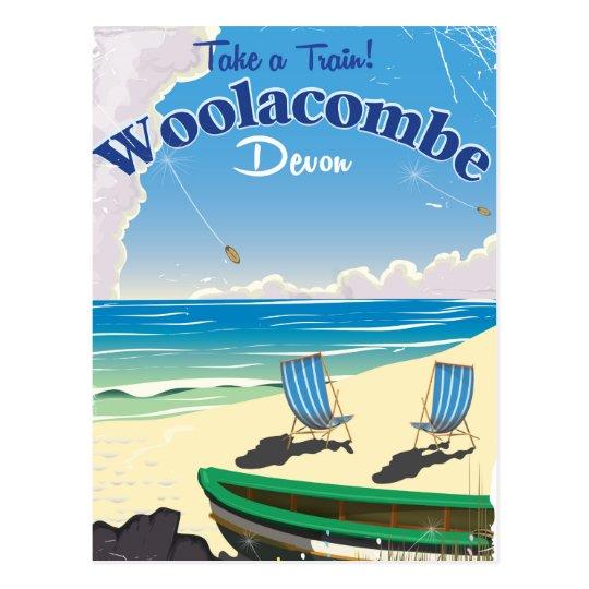 Woolacombe Devon Strand-Reiseplakat Postkarte