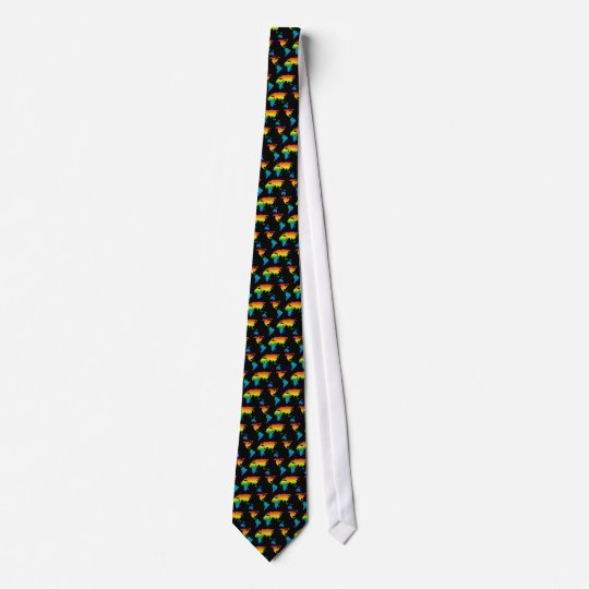 world rainbow 2 pattern black - tie bedruckte krawatten