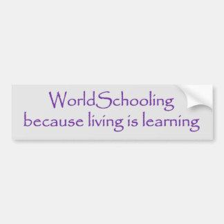 Worldschooling Leben lernt Autoaufkleber