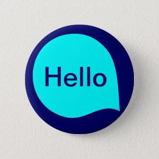 Wort-Blase - cyan-blau auf tiefer Marine Runder Button 5,7 Cm