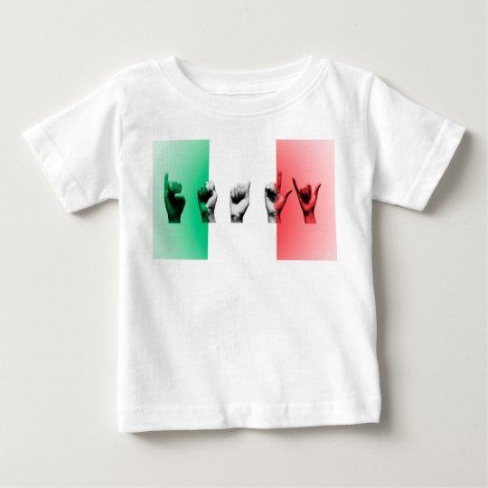 Wort Italien über der italienischen Flagge Baby T-shirt