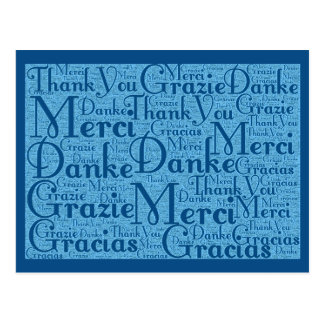 Wort-Kunst: Danke in den multi Sprachen - Postkarte