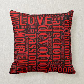 Wörter des Liebe-Rotes Kissen