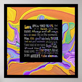 Wörter des Liebekunstdruckes Poster