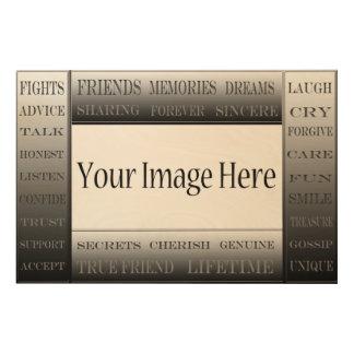 Wörter von Freundschaft-Bild Rahmen durch Holzdruck