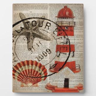 Wörterbuch druckt Kunst Küstenseashellleuchtturm Fotoplatte