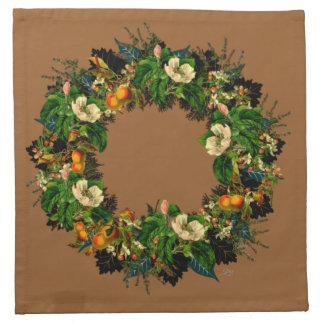 "Wreath-""altes Gold"" Blumen-Blumenservietten Stoffserviette"