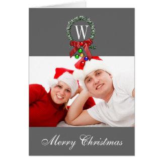 Wreath-Monogramm-Foto-frohe Weihnacht-Karten Grußkarte
