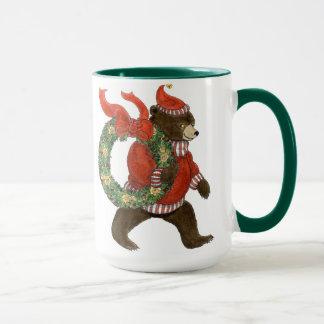 Wreath-Tasse Brown-Bären Weihnachts Tasse