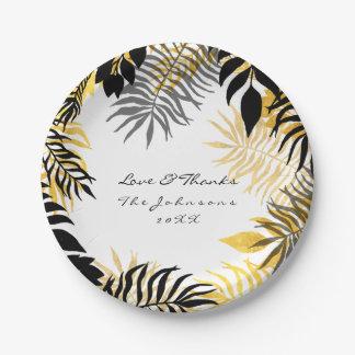 Wreath-tropische Schwarz-weiße Goldpalme botanisch Pappteller