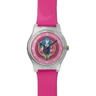 Wunder-Frau Tri Farbegraphik-Schablone Armbanduhr