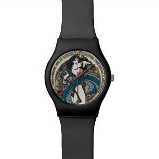 Wunder-Frauen-Kunst Nouveau Platte Armbanduhr