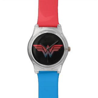 Wunder-Frauen-rotes blaues Steigungs-Logo Armbanduhr