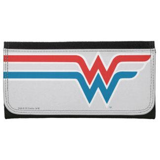 Wunder-Frauen-rotes weißes und blaues Logo