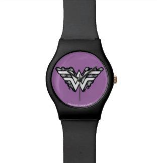 Wunder-Frauen-Schwarz-Spitze-Logo Uhr