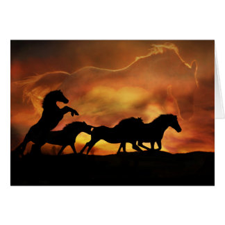 Wunderbare Geburtstags-Karte mit Pferden Grußkarte