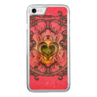 Wunderbare Herzen mit Blumenelementen Carved iPhone 8/7 Hülle