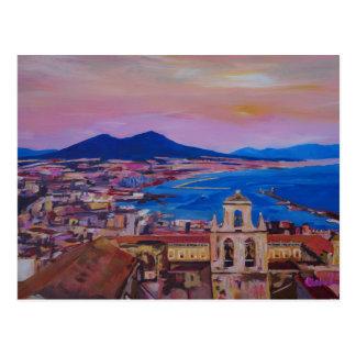 Wunderbare Stadt-Ansicht von Neapel mit Berg Vesuv Postkarte