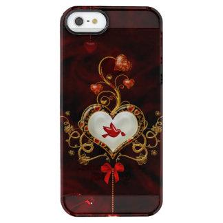 Wunderbares Herz mit Taube Durchsichtige iPhone SE/5/5s Hülle
