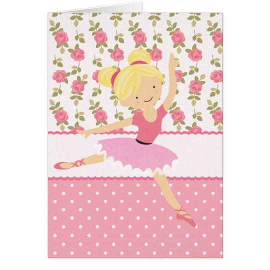 Wunderliche Ballerina-rosa Girly mit Grußkarte