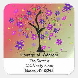 Wunderliche Baum-Adressenänderung Quadratischer Aufkleber